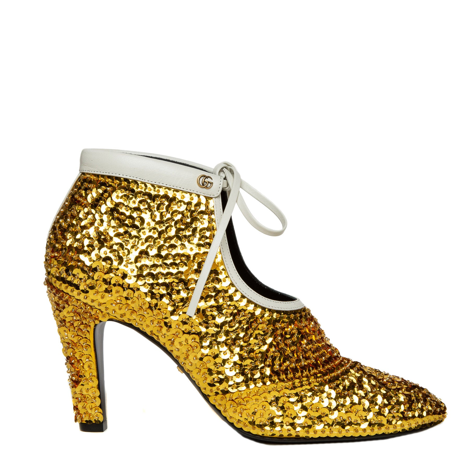 gold sequin ankle booties