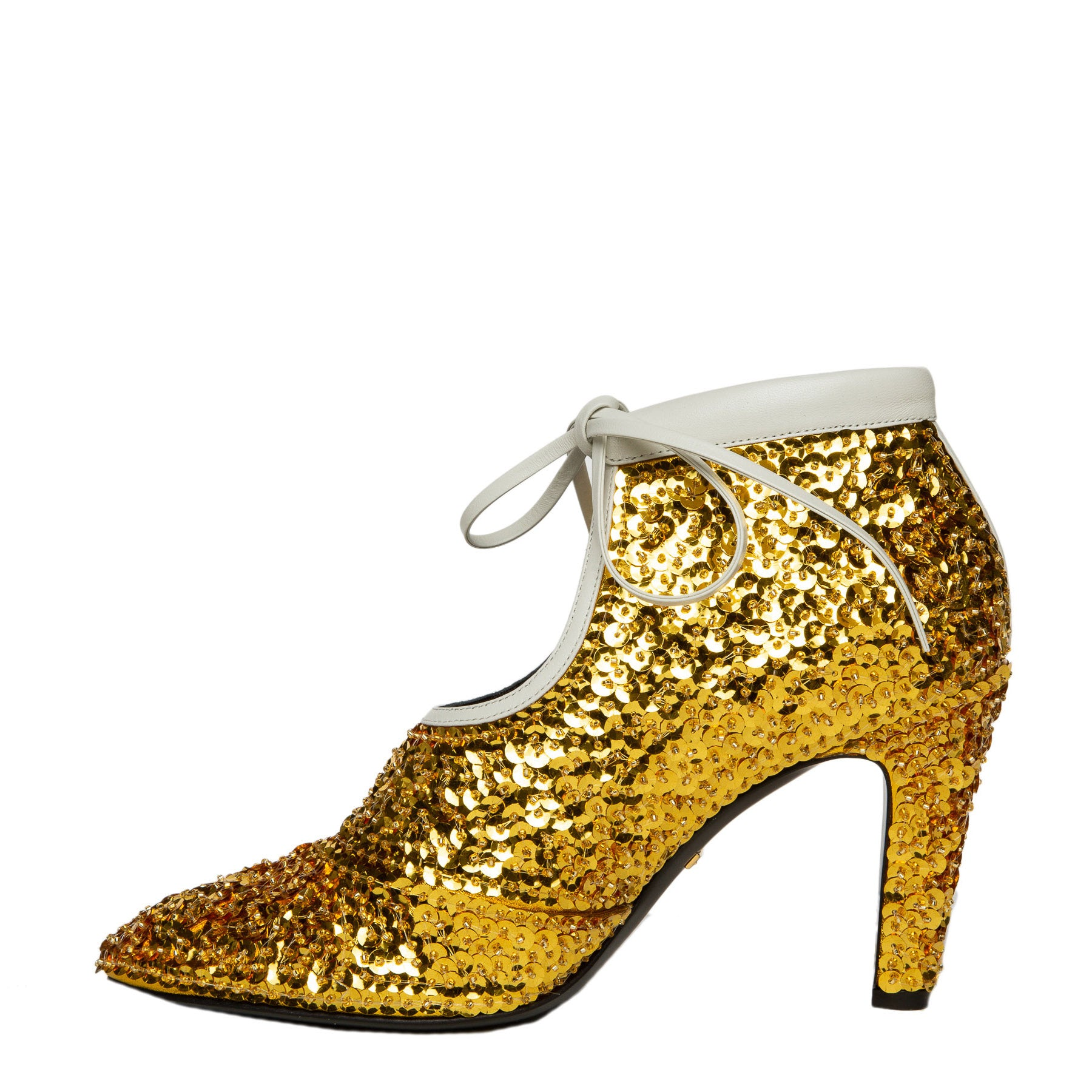 gold sequin ankle booties inner