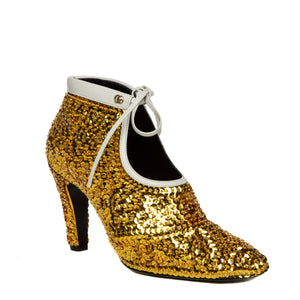 gold sequin ankle booties outer angle