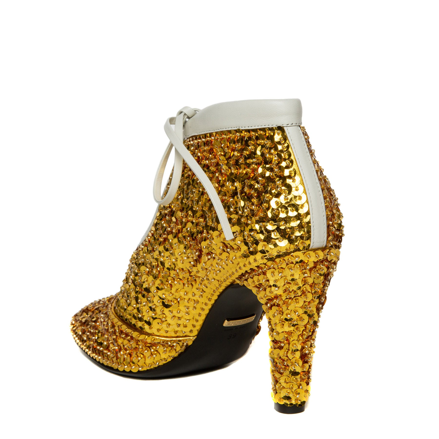 gold sequin ankle booties back