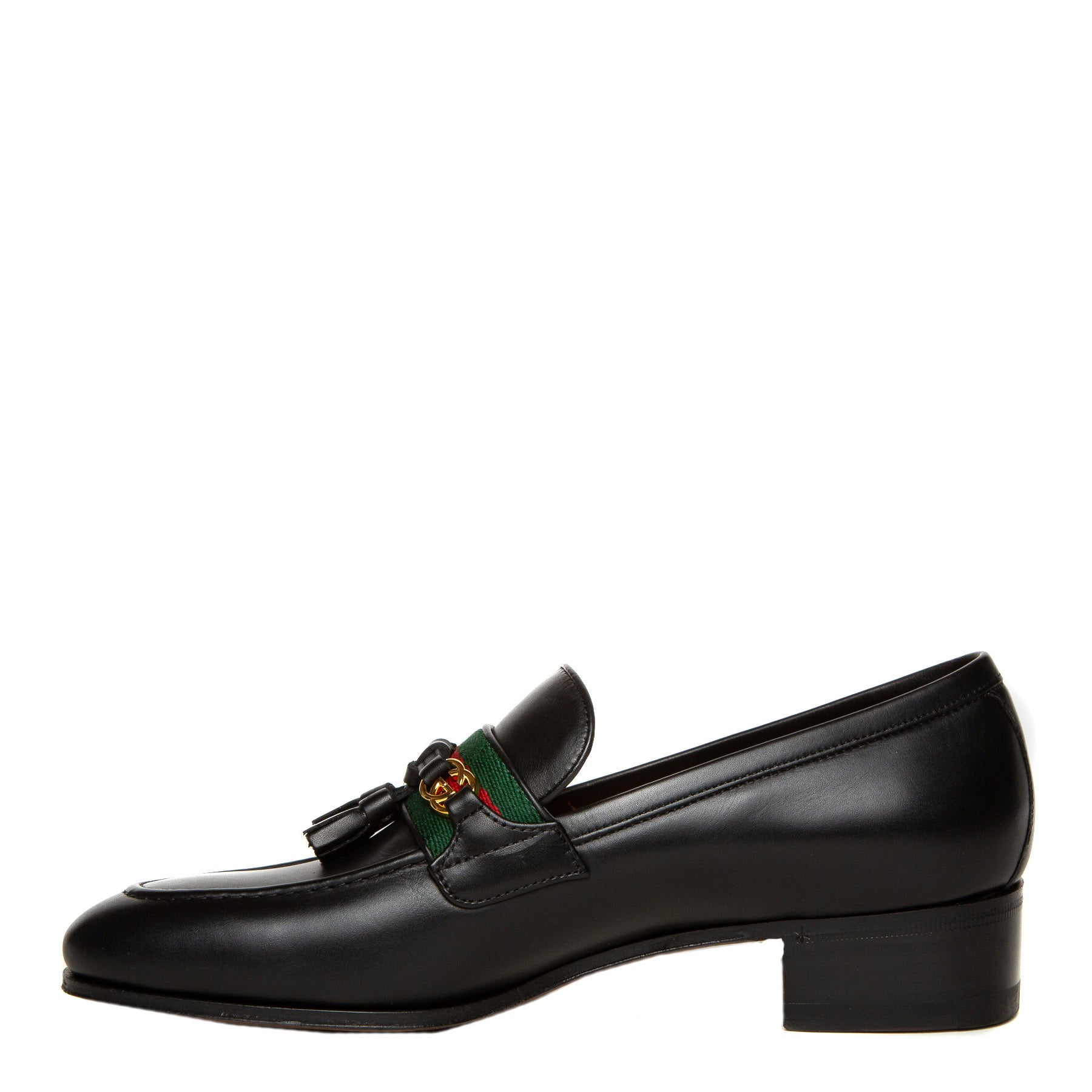 black leather Gucci loafers inner
