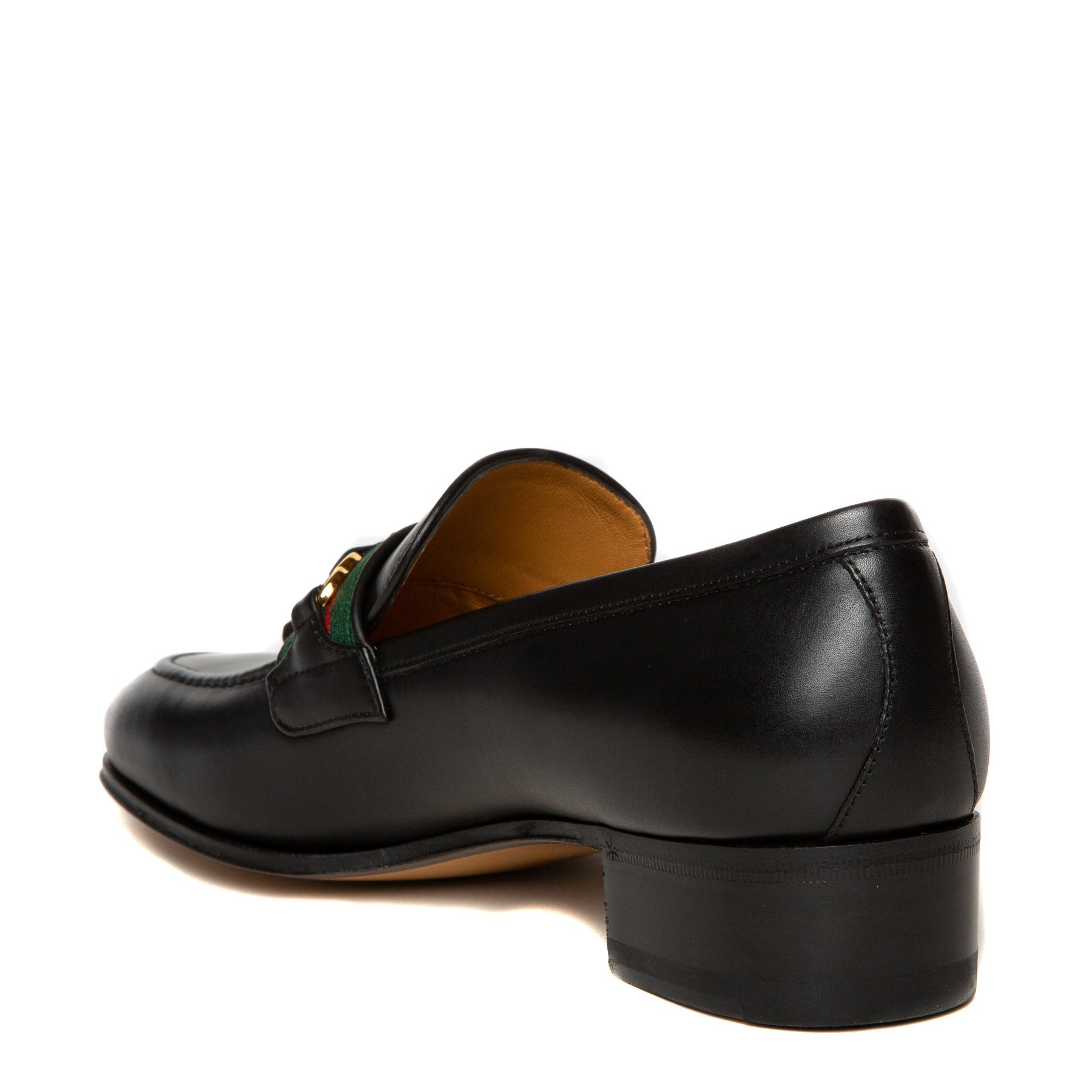 black leather Gucci loafers back