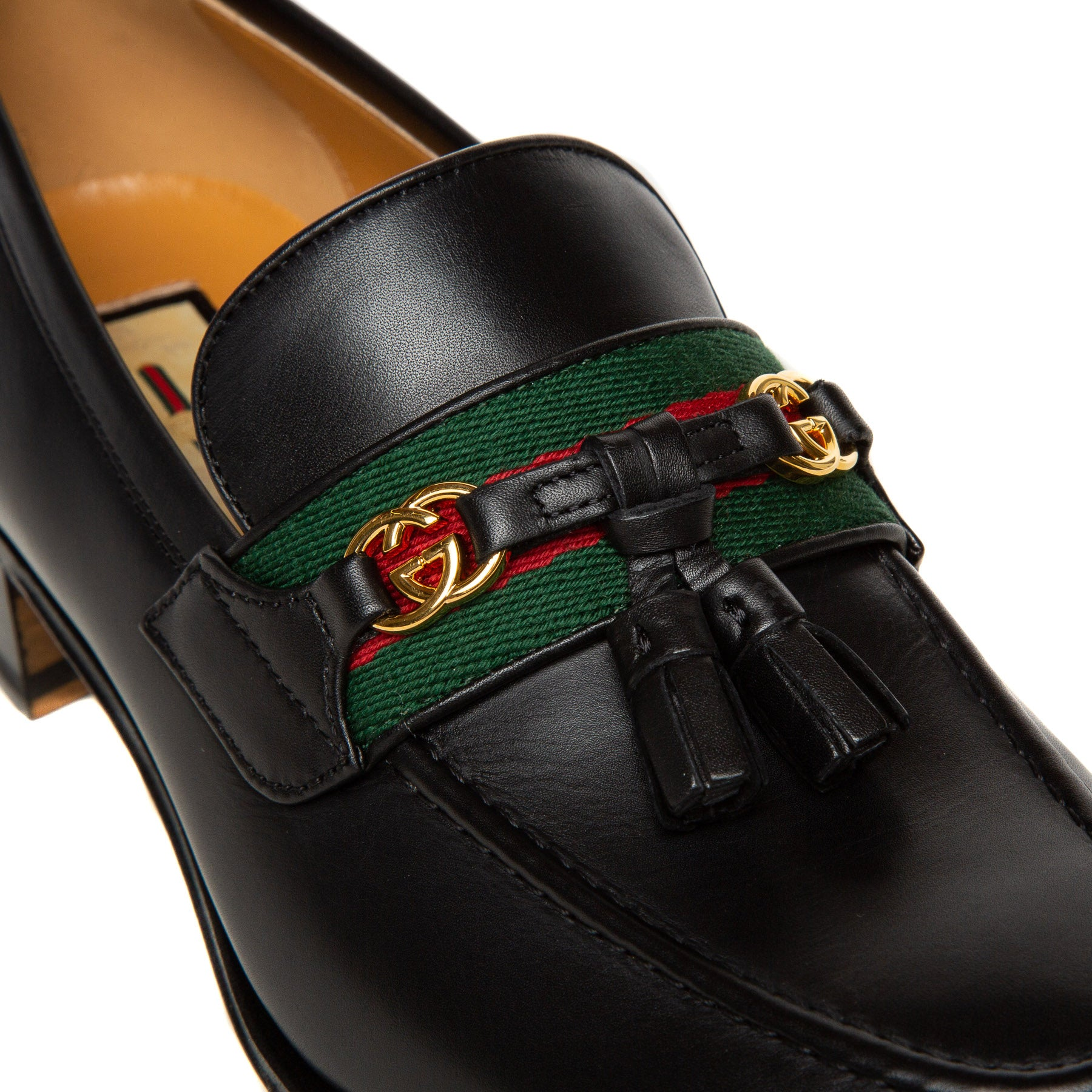 black leather Gucci loafers close up