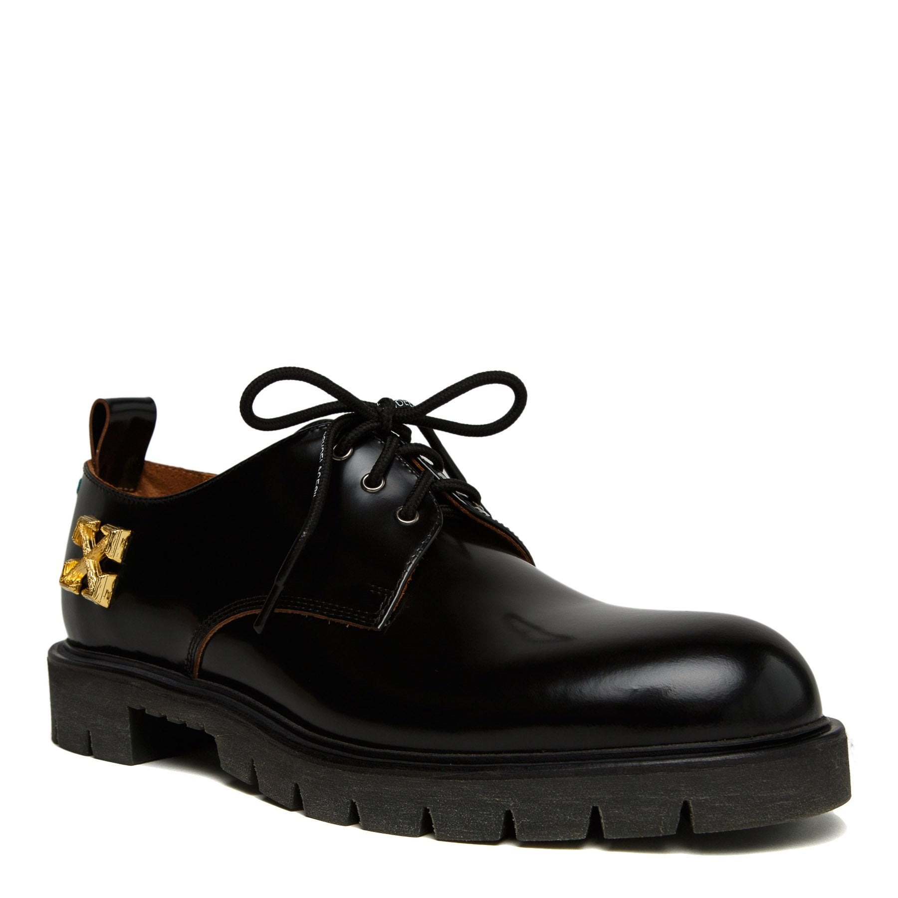 gold arrows black leather derby shoe