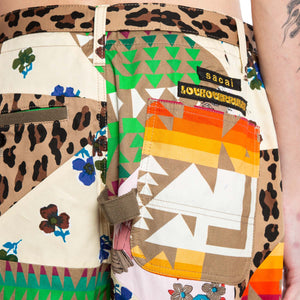 SACAI | PATCHWORK MULTI PRINT SHORTS