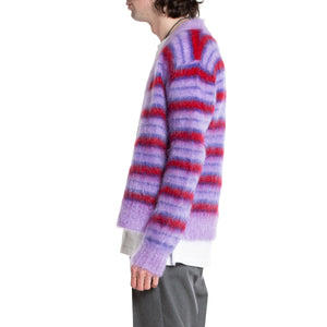 MARNI | LAVENDER STRIPED FUZZY CARDIGAN