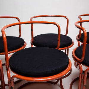 MAXFIELD PRIVATE COLLECTION  | 1963 GAE AULENTI CHAIRS IN THE STYLE OR VARIATION OF LOCUS SOLUS CHAIRS. SET OF 6 WITH ORIGINAL PAINT, NEW CUSHIONS
