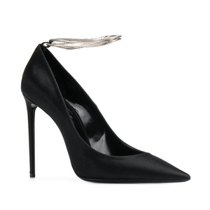 SAINT LAURENT PARIS | ZOE CHAIN-ANKLET SATIN PUMPS