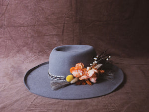 Hand made hat, Bob Dylan style rolling thunder hat with flowers & horse hair hatband