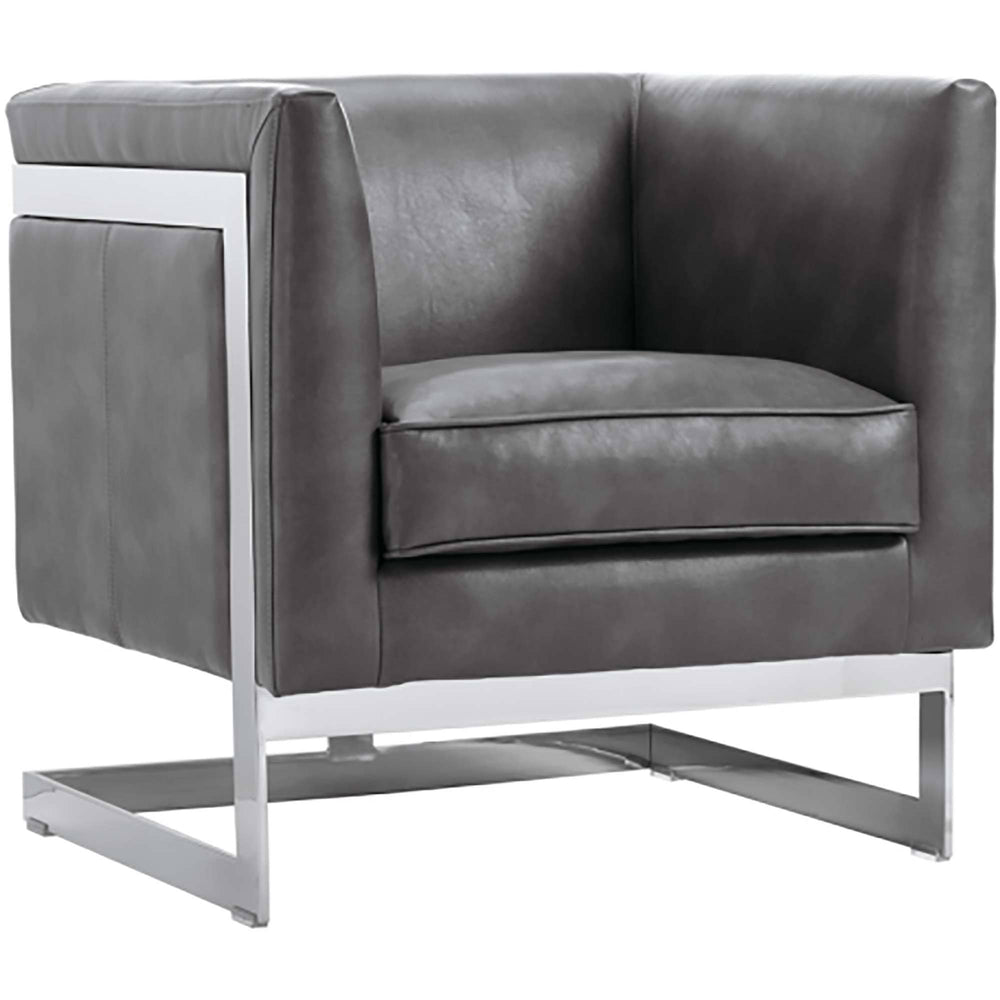 Soho Leather Armchair Grey - Modern Furniture - Accent Chairs - High Fashion Home