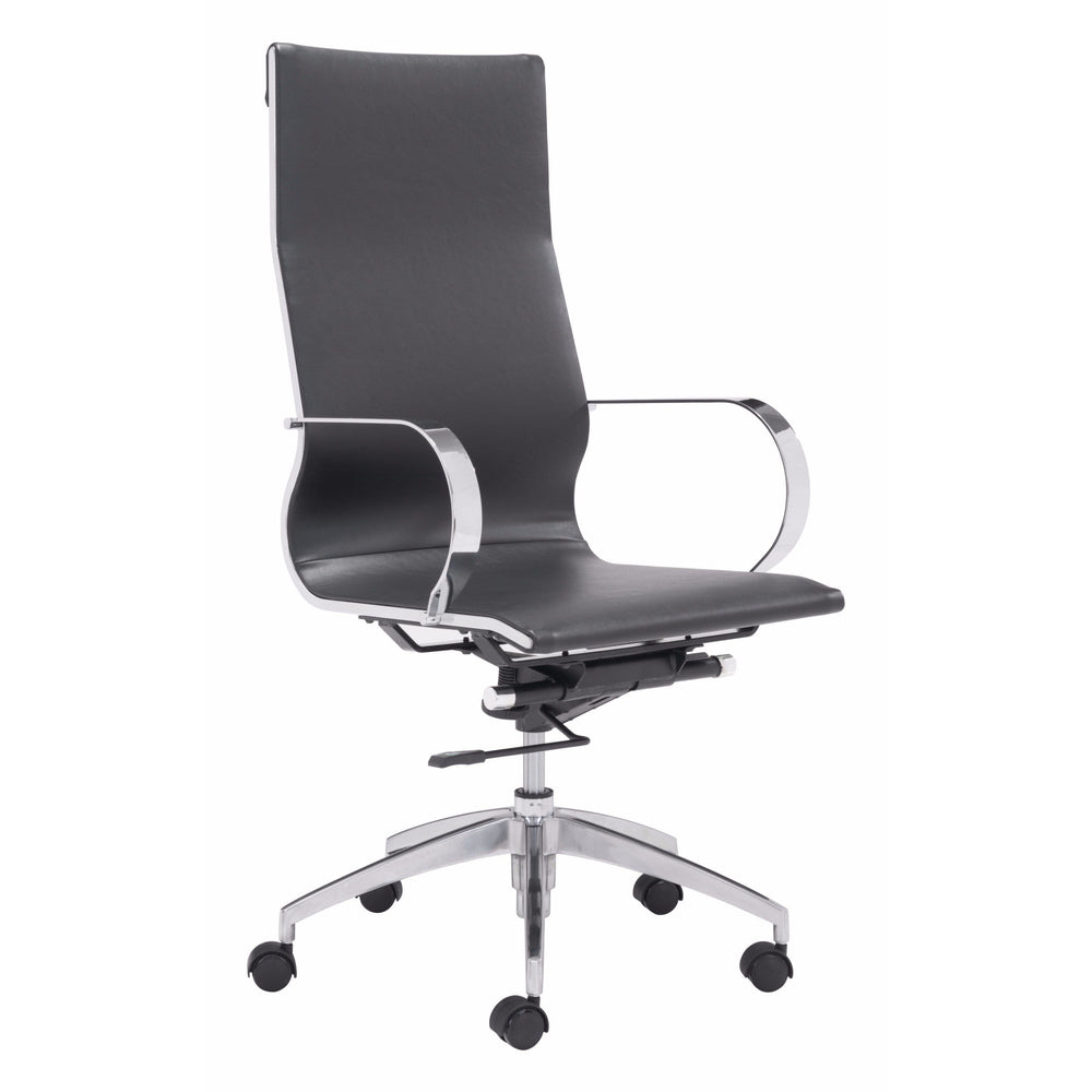 Glider Hi Back Office Chair, Black - Furniture - Office - High Fashion Home