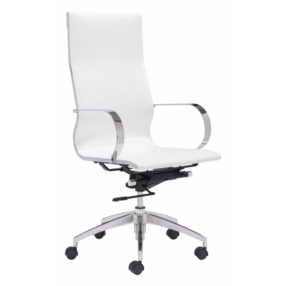 Glider Hi Back Swivel Office Chair, White - Furniture - Office - High Fashion Home
