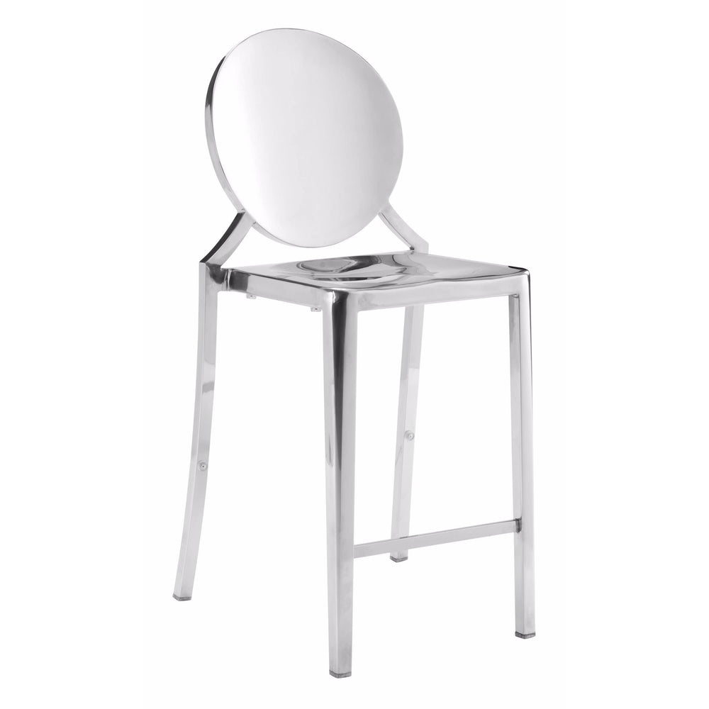 Eclipse Counter Stool, Polished Stainless (Set of 2) - Furniture - Dining - High Fashion Home