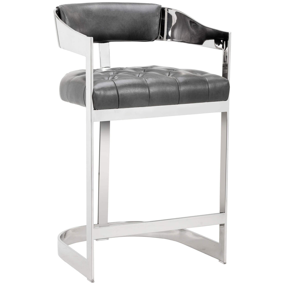 Beaumont Leather Counter Stool, Grey - Furniture - Dining - Dining Stools