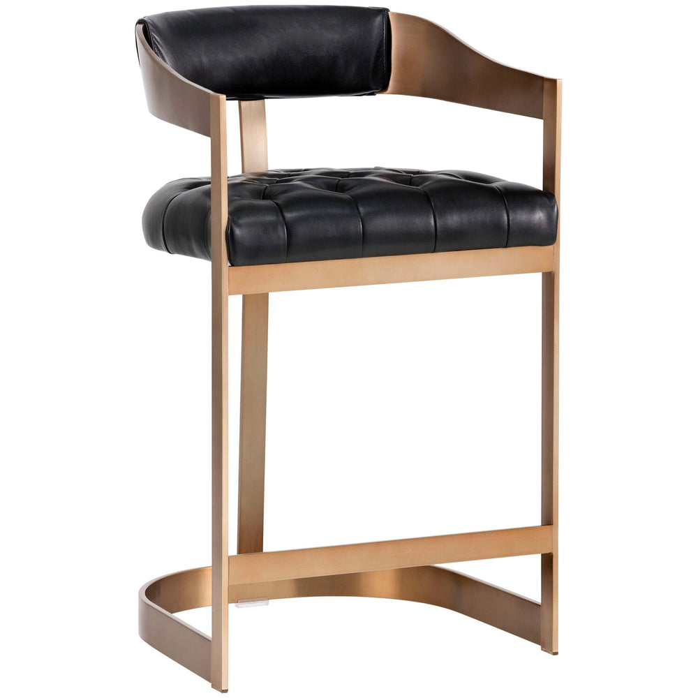 Beaumont Leather Counter Stool, Black - Furniture - Dining - Dining Stools