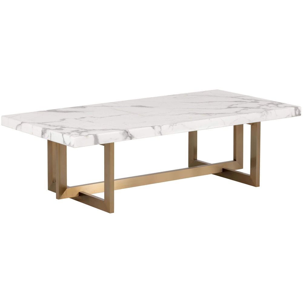 Rosellen Coffee Table, Antique Brass, White Marble - Modern Furniture - Coffee Tables - High Fashion Home