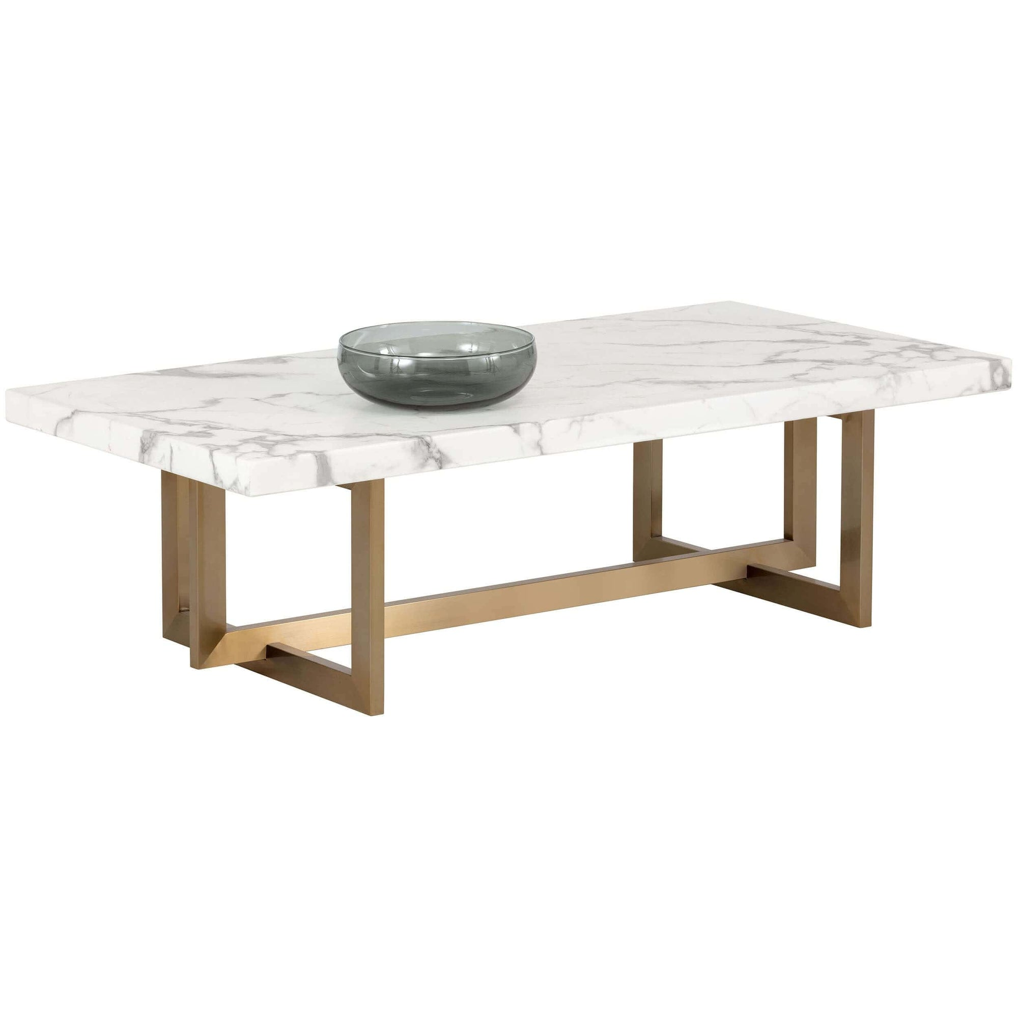 Rosellen Coffee Table Antique Brass White Marble High Fashion Home
