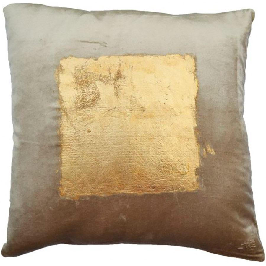 Cloud 9 Velvet Pillow with Center Square Gold Foil Print - Accessories - High Fashion Home