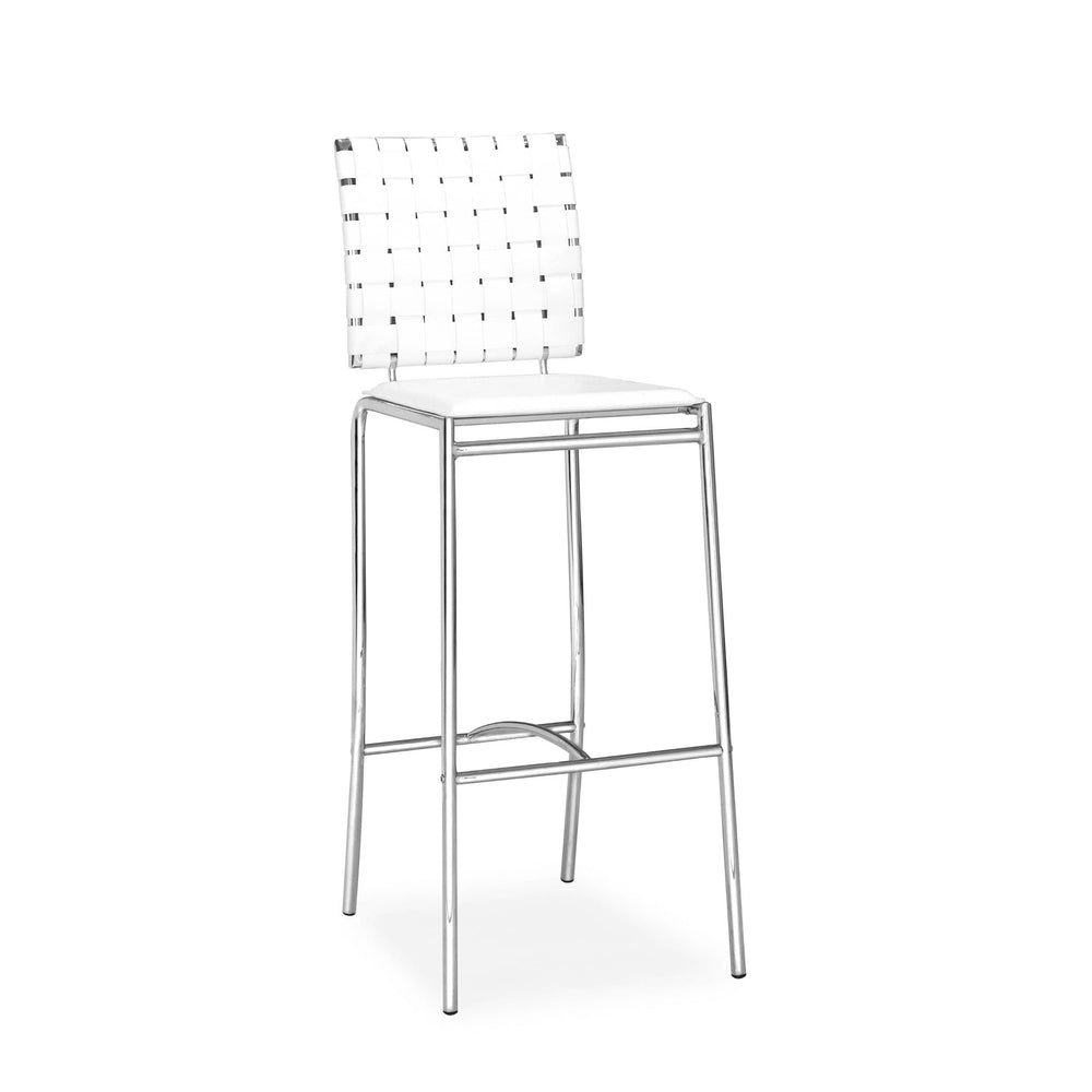 Criss Cross Bar Stool, White (Set of 2) - Furniture - Dining - Dining Stools