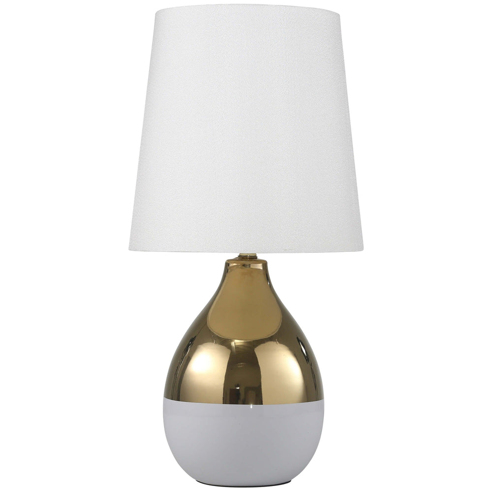 Gourd Table Lamp, Gold and White