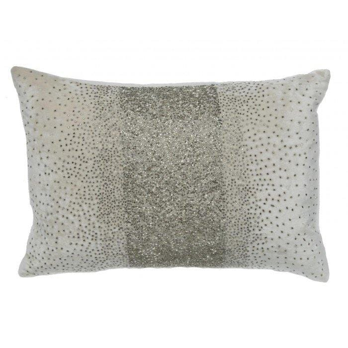 Cloud 9 Crystal Beaded Ivory Velvet Pillow - Accessories - High Fashion Home