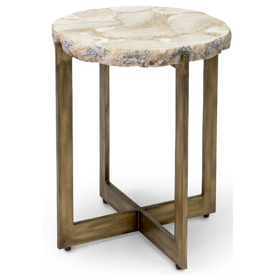 Durham Fossilized Clam Side Table - Furniture - Accent Tables - High Fashion Home