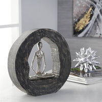 Aluminum Yoga Lady in Circle Log, Silver - Accessories - High Fashion Home