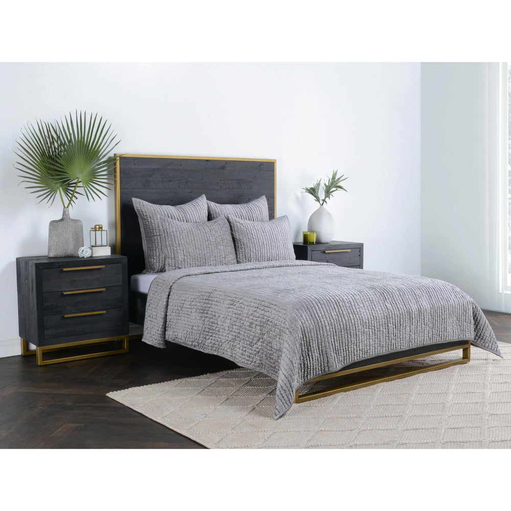 Bari Velvet Quilt, Gray - Accessories - High Fashion Home