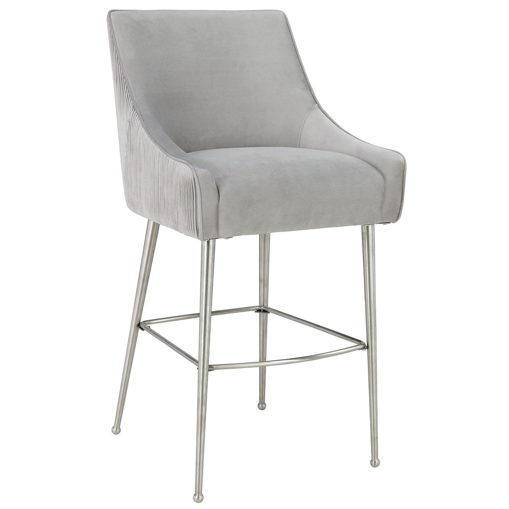 Beatrix Pleated Bar Stool, Light Grey - Furniture - Dining - High Fashion Home