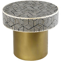 Bone Inlay Round Side Table - Furniture - Accent Tables - High Fashion Home