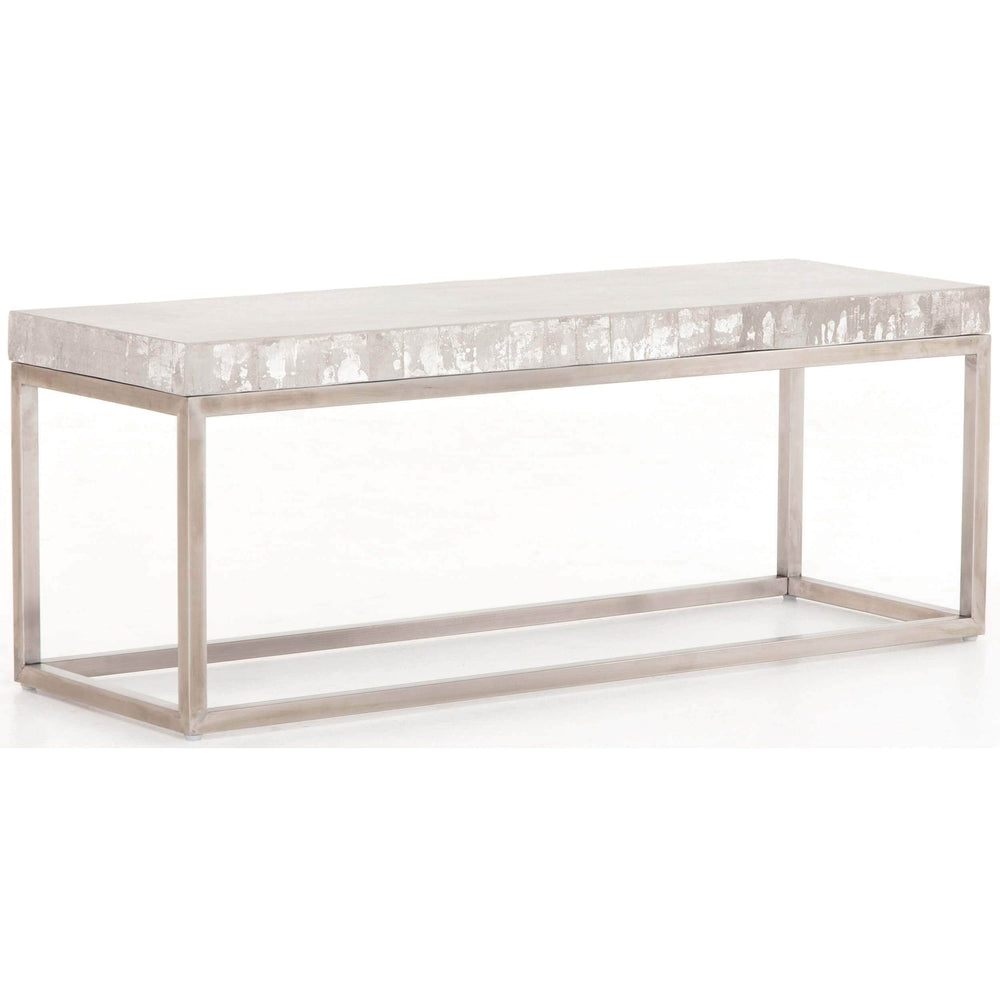 Concrete and Chrome Bench - Furniture - Chairs - High Fashion Home