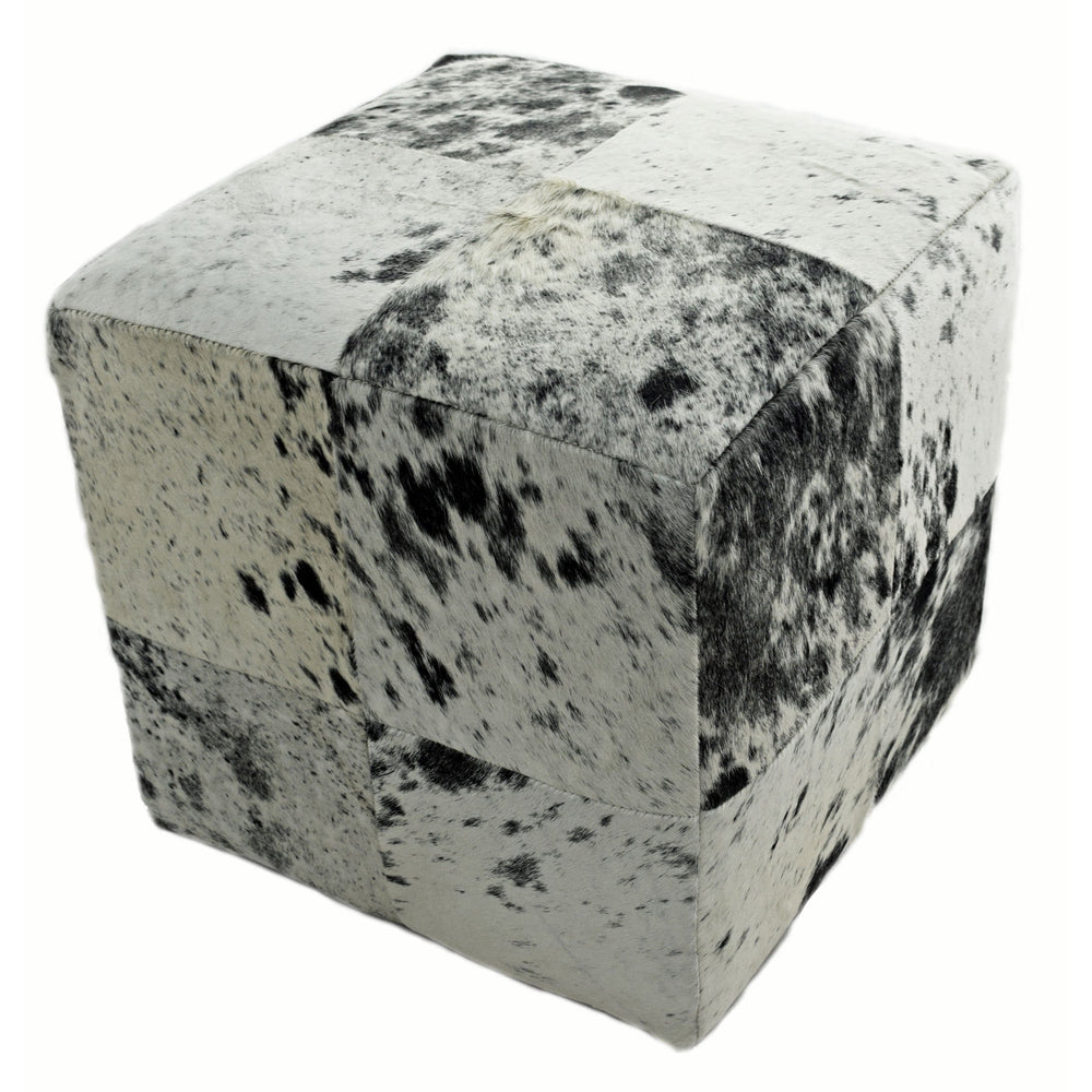 Cowhide Pouf, Speckled Black and White - Furniture - Chairs - High Fashion Home