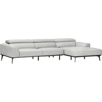 Derek Leather Sectional, Grey Stone - Modern Furniture - Sectionals - High Fashion Home