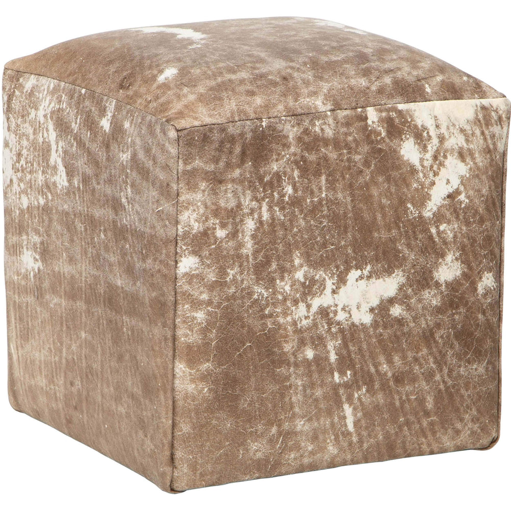 Distressed Leather Pouf, Dark - Furniture - Chairs - High Fashion Home