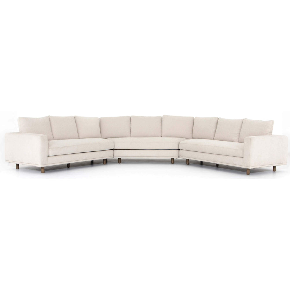 Dom Large Wedge Sectional, Bonnell Ivory - Modern Furniture - Sectionals - High Fashion Home