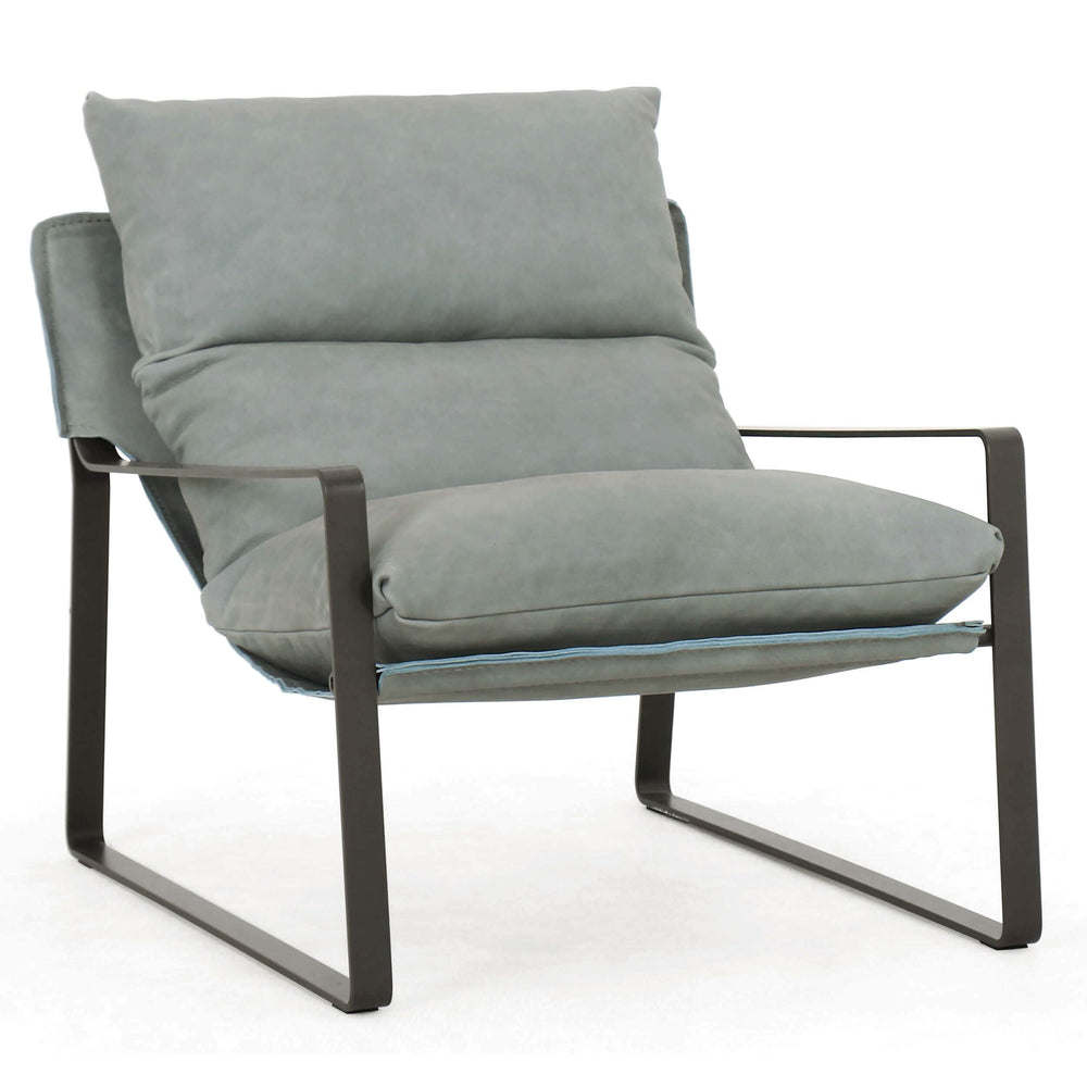 Emmett Leather Sling Chair, Palermo Sky