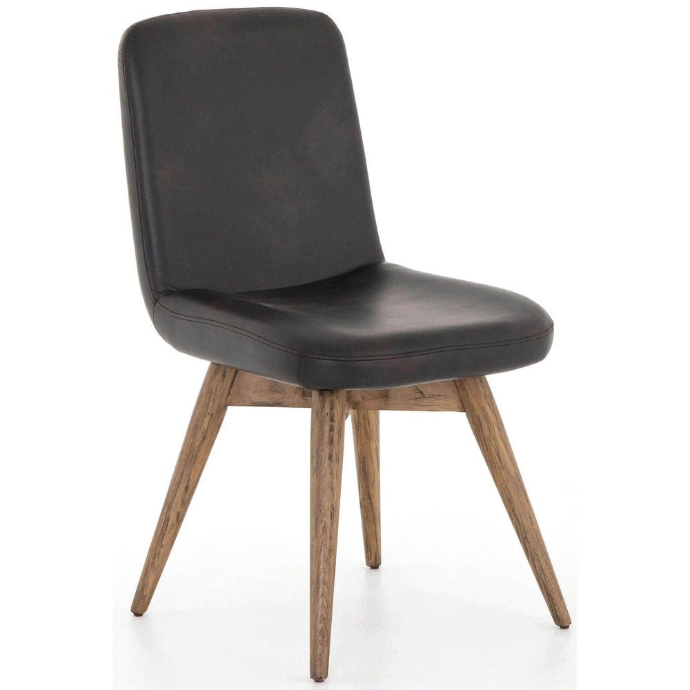 Giada Leather Chair, Distressed Black - Modern Furniture - Accent Chairs - High Fashion Home