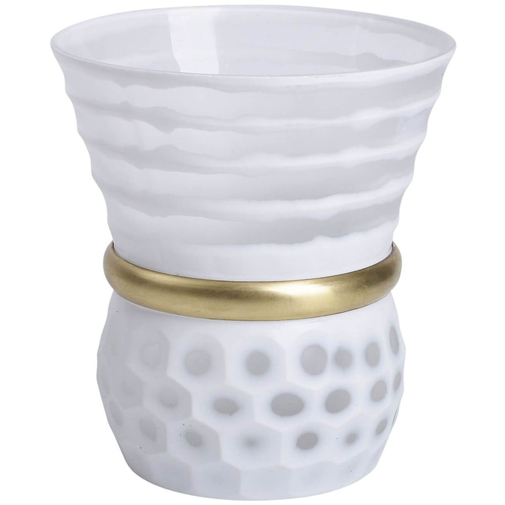"Glass Vase with Gold Band, 8"", White - Accessories - High Fashion Home"