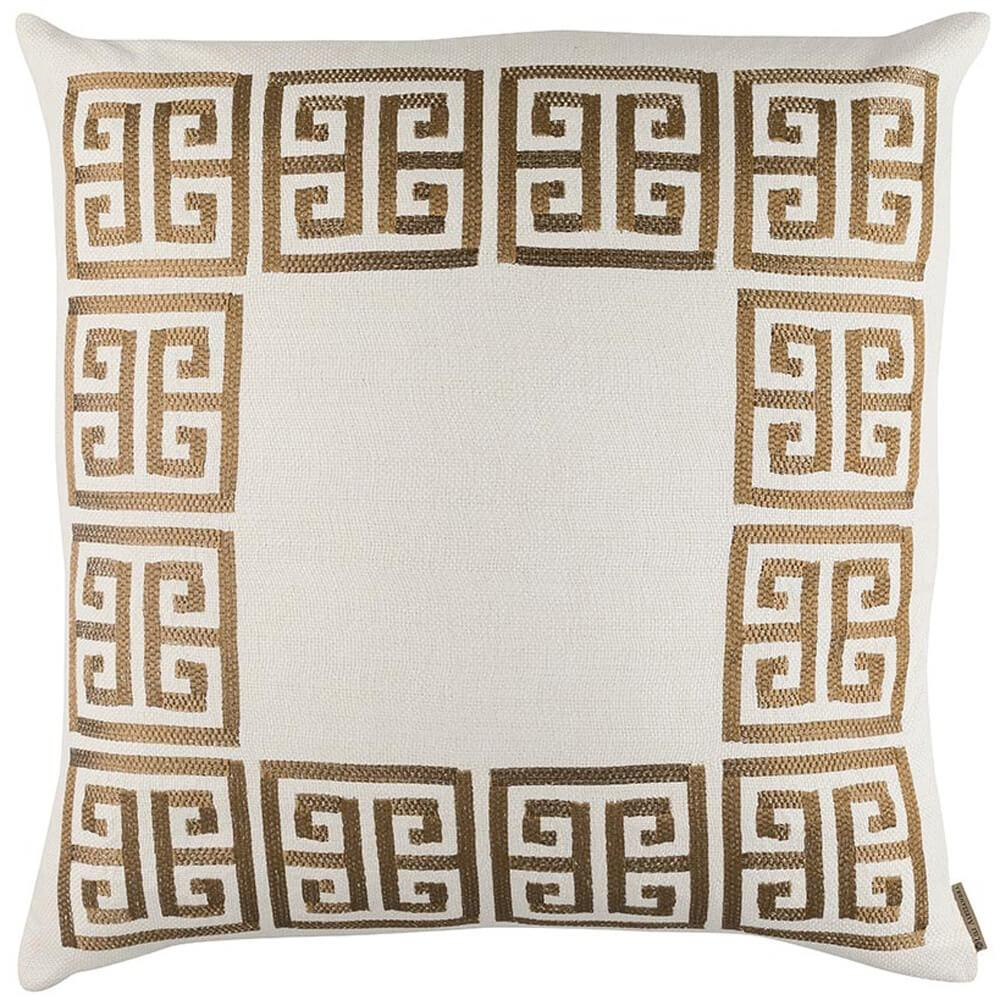 Guy Euro Border PIllow, Ivory/Gold - Accessories - High Fashion Home