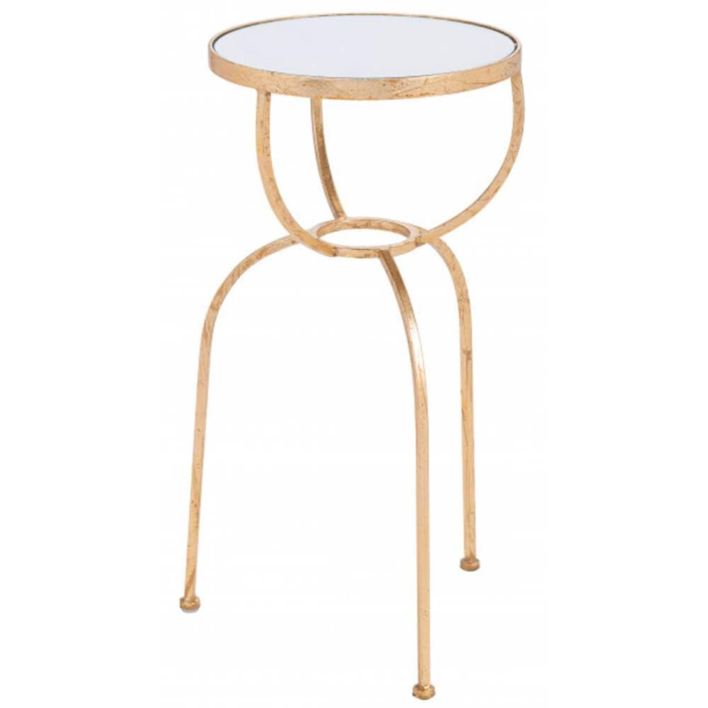 Hera Side Table, Brass-Furniture - Accent Tables-High Fashion Home