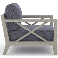 Huntington Outdoor Chair, Faye Navy/Weathered Grey Frame - Furniture - Chairs - High Fashion Home