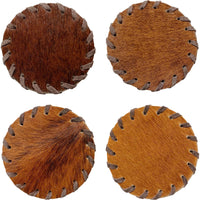 Hair-on-Hide Laced Coaster, Brown, Set of 4 - Accessories - High Fashion Home