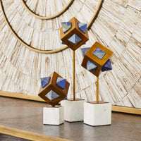 Lapis Cube Sculpture, Set of 3 - Accessories - High Fashion Home