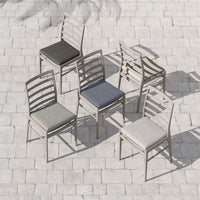 Linnet Outdoor Dining Chair, Faye Navy/Weathered Grey - Furniture - Dining - High Fashion Home