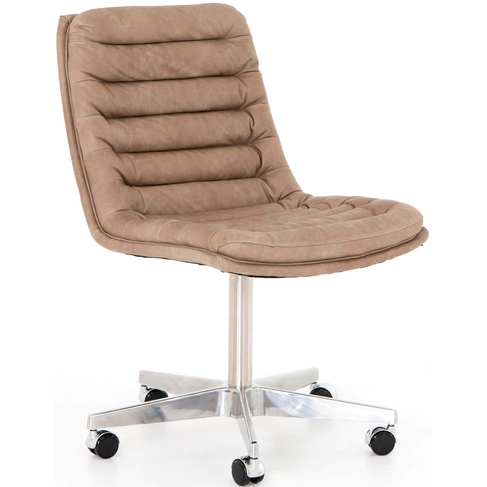 Malibu Leather Office Chair, Natural Washed Mushroom - Furniture - Office - High Fashion Home