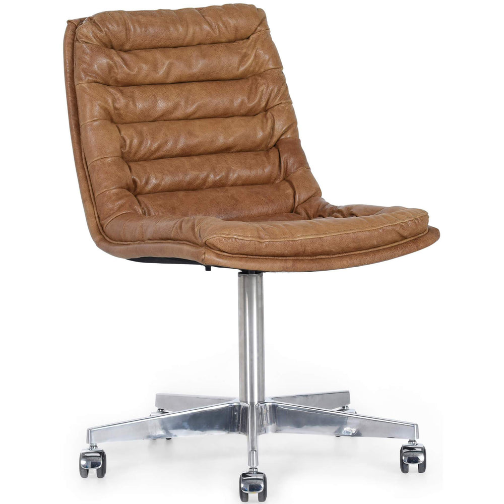 Malibu Leather Office Chair, Pampas Nut - Furniture - Office - High Fashion Home