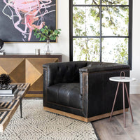 Maxx Leather Swivel Chair, Destroyed Black - Modern Furniture - Accent Chairs - High Fashion Home