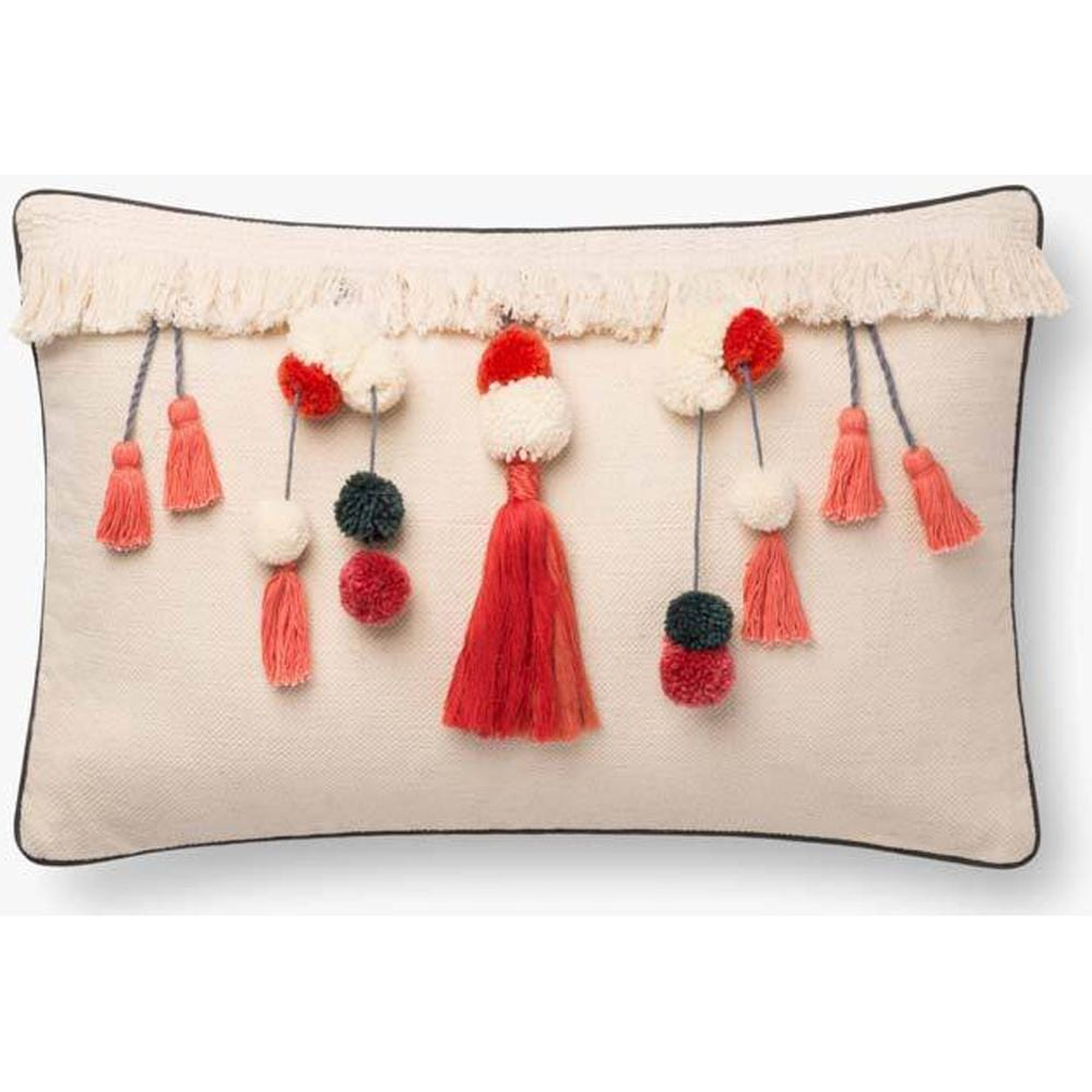 Loloi Pillow Paloma P0780, Natural/Coral - Accessories - High Fashion Home