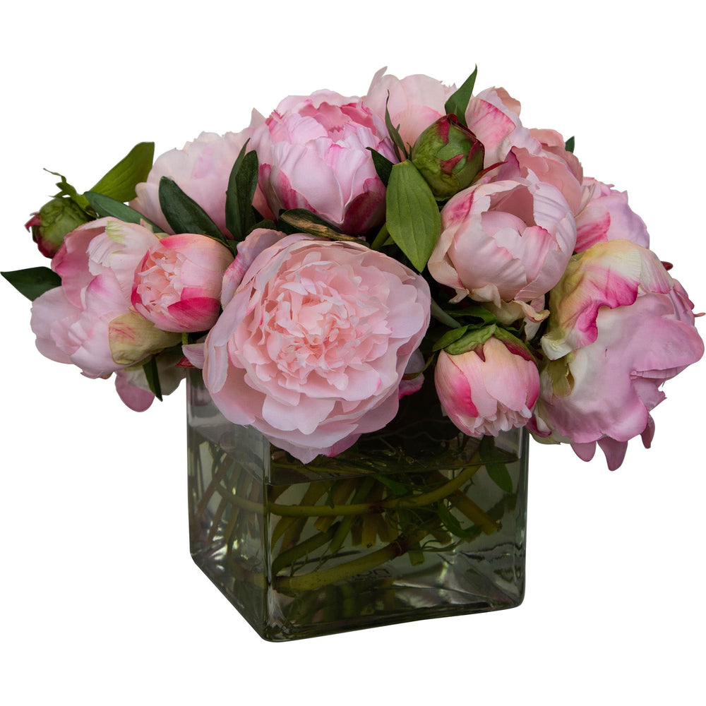 Peony Pink in Glass Cube Vase - Accessories - High Fashion Home