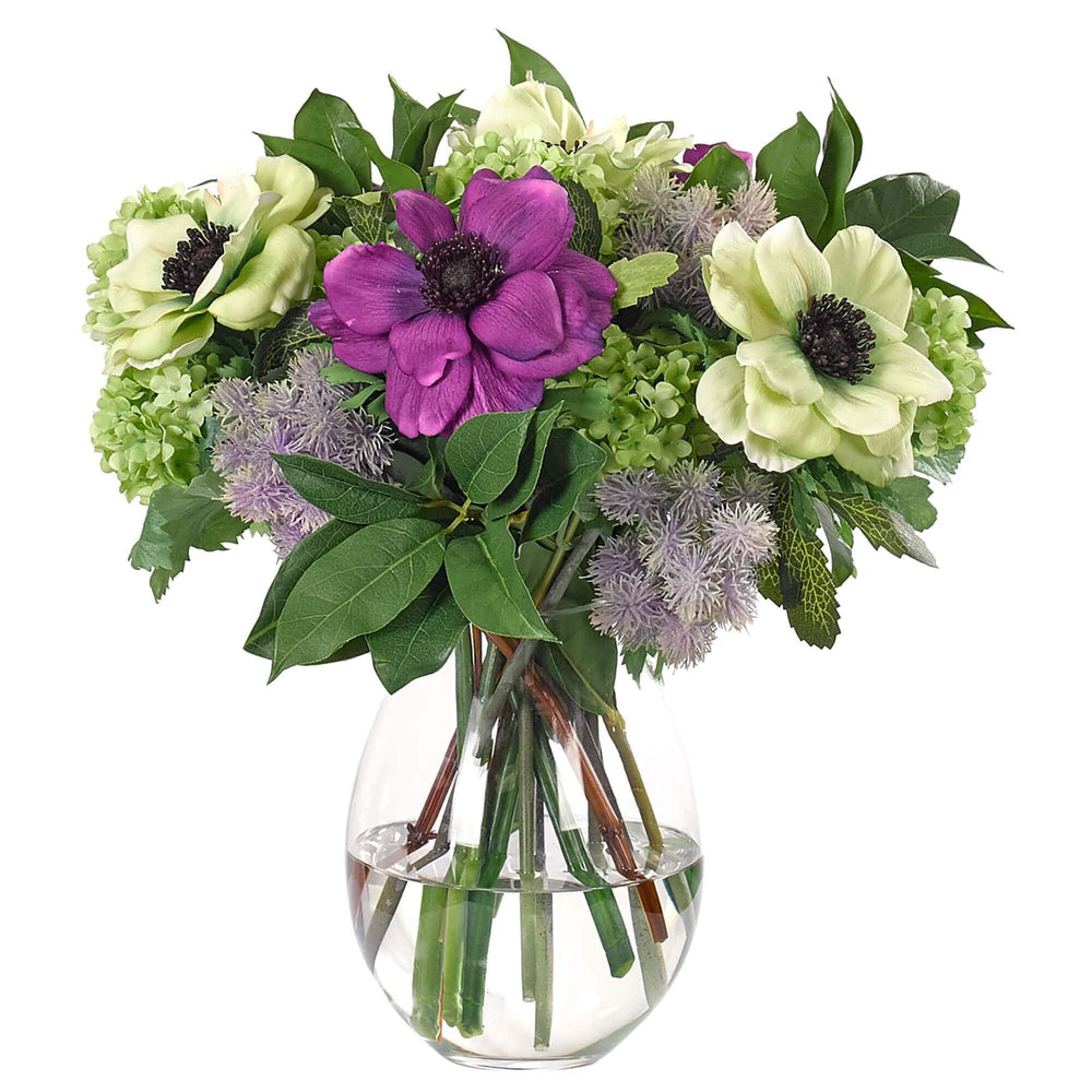 Purple and Green Anemone in Glass Vase - Accessories - High Fashion Home